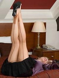 naughty posing in open crotch pantygirdle