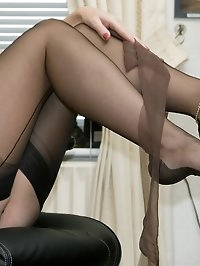 corset wearing office girl plays