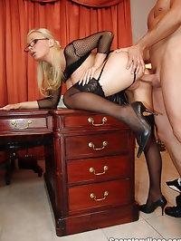 Busty blonde milf office hoe sucking dick