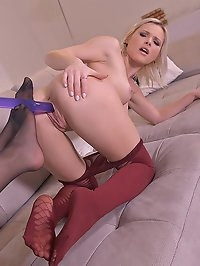 Pantyhose & Double Dong: Lesbians Stuff Their Tight Pussies!