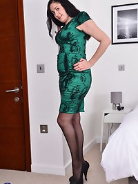 Naughty British housewife is getting ready for bed