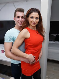 Naughty housewife Anetta playing with her toy boy