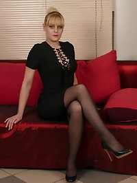 Naughty housewife fooling around on her couch