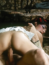 Dark hair lady knows well how to serve a man