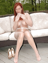 Darling teases in her white lingerie