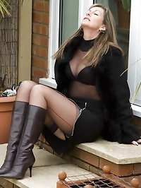 nylons revealed in cold outdoors