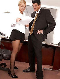 Blonde office slut Emma sucks dick at work