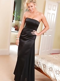 Leah F looks amazing in her floor length black evening..