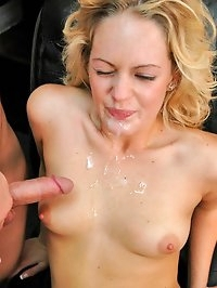 Hot blondy gets her nice tight pussy stretched out