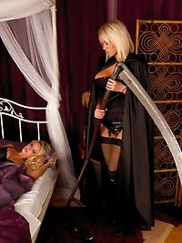 Hot lesbian reaper creeps into busty blondes bedroom and..