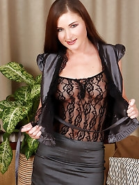 Horny housewife Angel Snow in silky black lingerie spreads..
