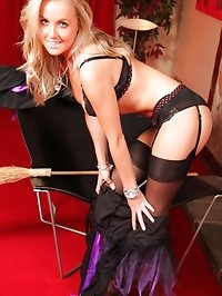 Devilishly beautiful Becky R shows off her lace sheer..