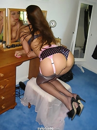 Jane dresses for bed in a see through negligee
