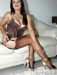 Charming darling shines in her stockings