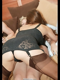 Jane and her friend both in stockings trample these guys