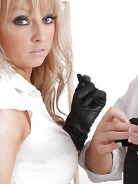 This glove sales woman just loves to fondle her customers