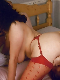 Sexy babe with red lingerie on is very horny