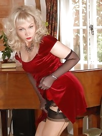 blonde in layered nylons poses