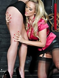 Filthy little blonde ties up naughty Milf and has her..