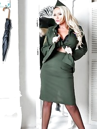 Hot Milf Lucy Zara is dressed up as a sexy French army..