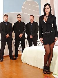 Hot boss lady enjoys a gang bang