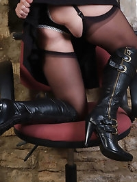Classy Honey loves to tease all the boys with her leather..