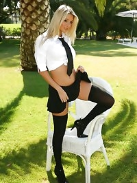 Stevie looks stunning dressed as a naughty college girl.