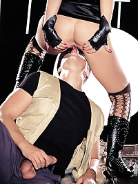 Fetish blonde wearing a mask blowjob and anal