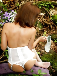 Beautiful garden with the lady in white