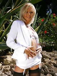 Sandra in stunning white suit, white lingerie and dark..