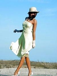 Leggy MILF Lily in elegant vintage stockings outdoor