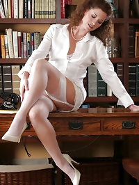 Stunning mature secretary in sexy lingerie and white..