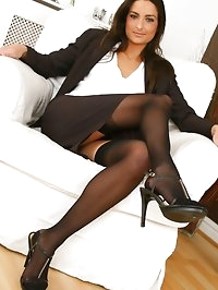 Gorgeous brunette Isla looks stunning in her sexy brown..