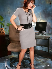 Watch Roni wearing stockings in the office