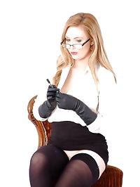Hot horny Secretary Louise pushes her pen a bit too far..