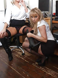 These gorgeous office sluts love to wear their boots at..