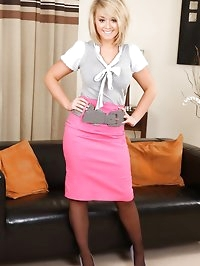 Stunning secretary wearing knee length pencil skirt and..