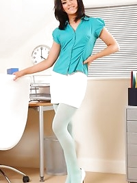 Stunning abbie in blue suspenders and white office skirt