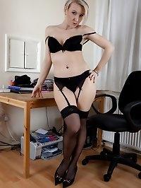 Office MILF Evey Kristal masturbating at her desk.