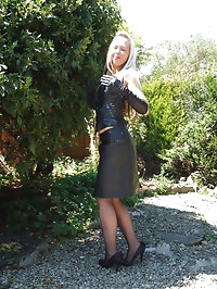 A horny outdoor shoot lets this blonde slut show off her..