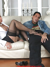 Lana Cox getting her gorgeous nylons licked and her pussy..