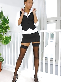 Amy Lou the secretary with stockings