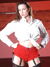 Red frilly french knickers cover Janes sexy ass