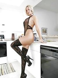 Desirae in Lace Lingerie & Stockings Black Dildo Kitchen..
