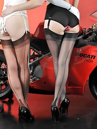 Nylon Jane likes to play with her cute TGirls and big bikes