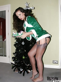 Nylon Jane looking festive and very sexy