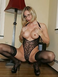 Hot Blonde Wife Desirae In Designer Lingerie and Garters
