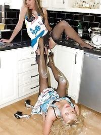 kitchen antics with two hot nylon ladies
