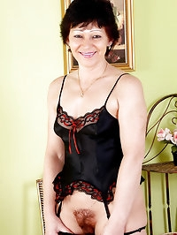 Hairy pussied Eva D from AllOver30 in sexy black lingerie