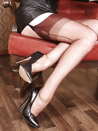 Alina loves latex catsuit with stockings and high heels